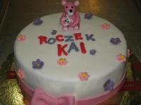 tort na roczek miś z kwiatkami